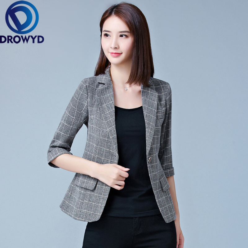 Women Gray Plaid Blazers 2020 New Fashion Lady Office Work Suit Pockets Jackets Coat Casual Slim Tops Long Sleeve Femme Blazer