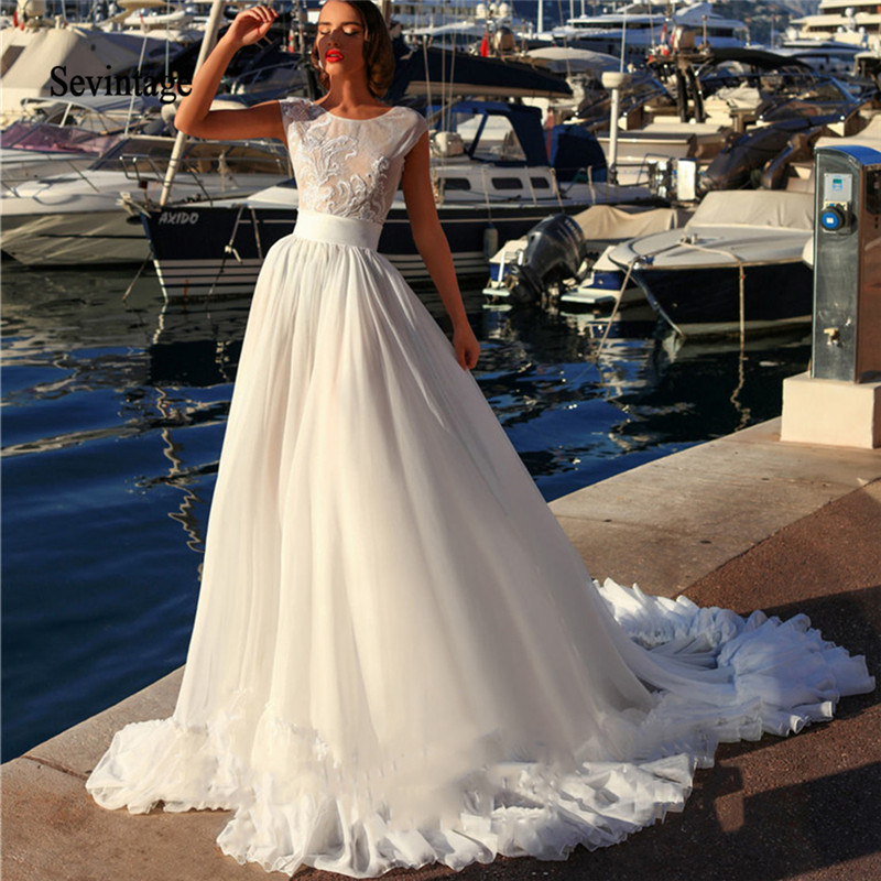 Sevintage A Line Cap Sleeve Chiffon Wedding Dresses Boho Lace Princess Bridal Gown Beach Wedding Gowns Vestido De Noiva 2020