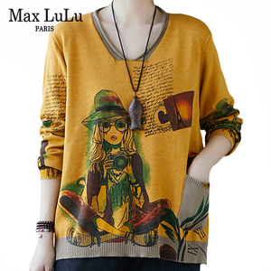 Max LuLu Autumn New 2020 European Style Streetwear Womens Knitted Clothes Ladies Printed Vintage Sweaters Casual Loose Pullovers