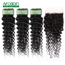 Brazilian Deep Wave Bundles With Closure 5x5 Remy Hair And Lace Aircabin Human Extensions