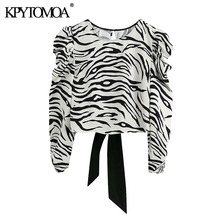 KPYTOMOA Women 2020 Fashion Animal Print Cropped Blouses Vintage Puff Sleeve Backless Bow Tied Female Shirts Chic Tops