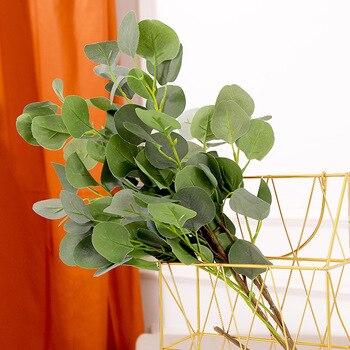 Hojas artificiales de 90cm, ramas Retro Verde Hoja de manzana de seda para decoración del hogar nórdica, plantas de boda, follaje de plástico, decoración de la habitación