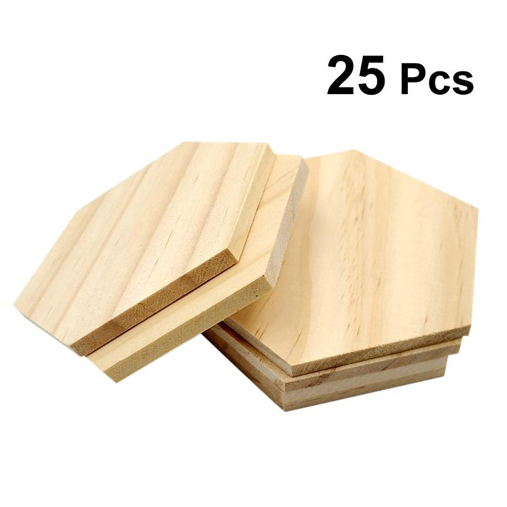 25 Pcs/Pack 9 CM Wooden Slices Hexagon Durable Polished Pendant Blank Name Tags For Wedding Party Decoration