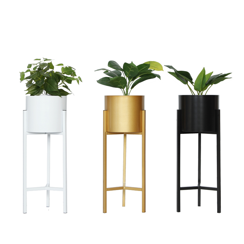 Flower Airs European Style Golden Balcony A Living Room Indoor Household Landing Type Green Luo Metal Flowerpot Planting Frame|Plant Shelves| |  - title=
