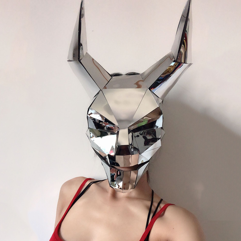 Rave Masked Party Silver Mirror Mask Cosplay Ghost <font><b>Festival</b></font> <font><b>Outfit</b></font> Nightclub Accessories DJ Mask Stage Costumes For Singers image