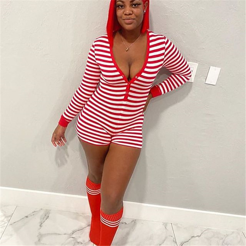 Free Ship©Shorts Romper Overalls Jumpsuit Homewear Leotard-Button Long-Sleeve Bodycon Sexy Striped