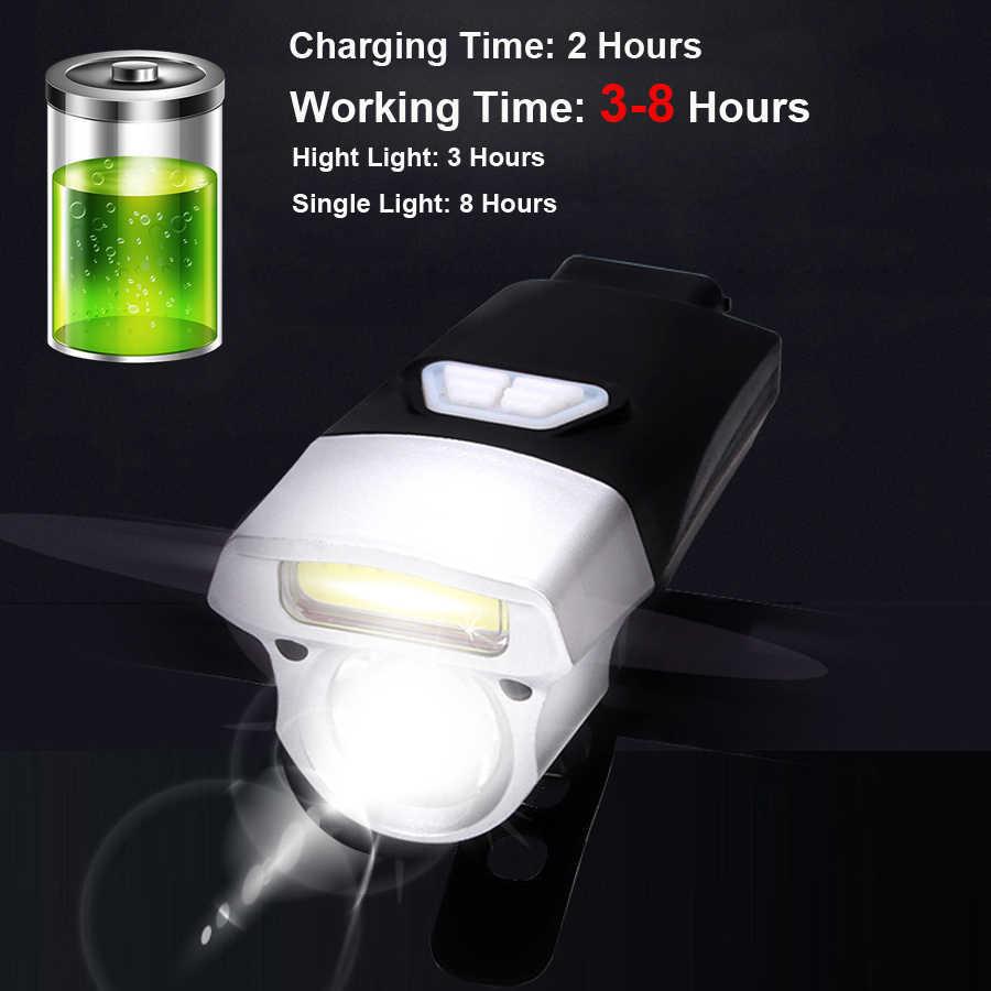 Bisiklet ön ışık seti USB şarj edilebilir ve pil akıllı far LED gece sürme MTB yol bisikleti lamba bisiklet el feneri