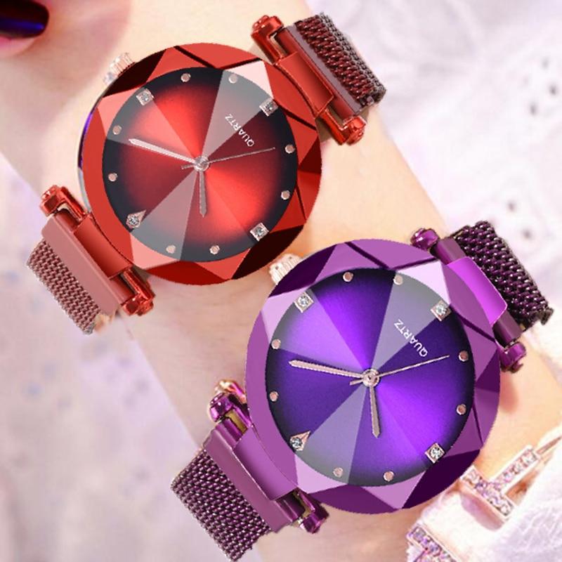Best SellingWomen Watches Starry Sky Magnetic Mesh Rhinestone Quartz Wristwatch Lady Female Diamond Watch Relogio Feminino Watch