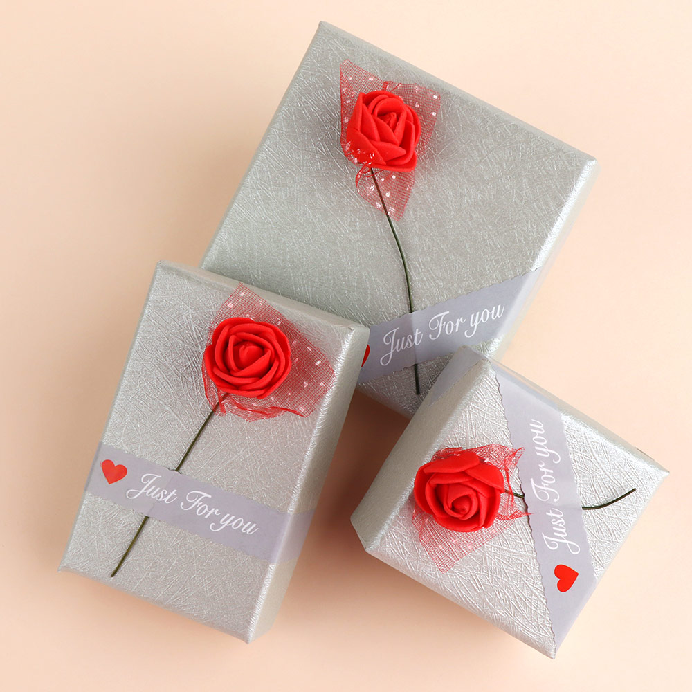Hot Sale 3 Type Size Striped Rose Shape Jewelry Box For Necklace Pendant Bracelets Earrings Ring Jewelry Storage Gifts Box