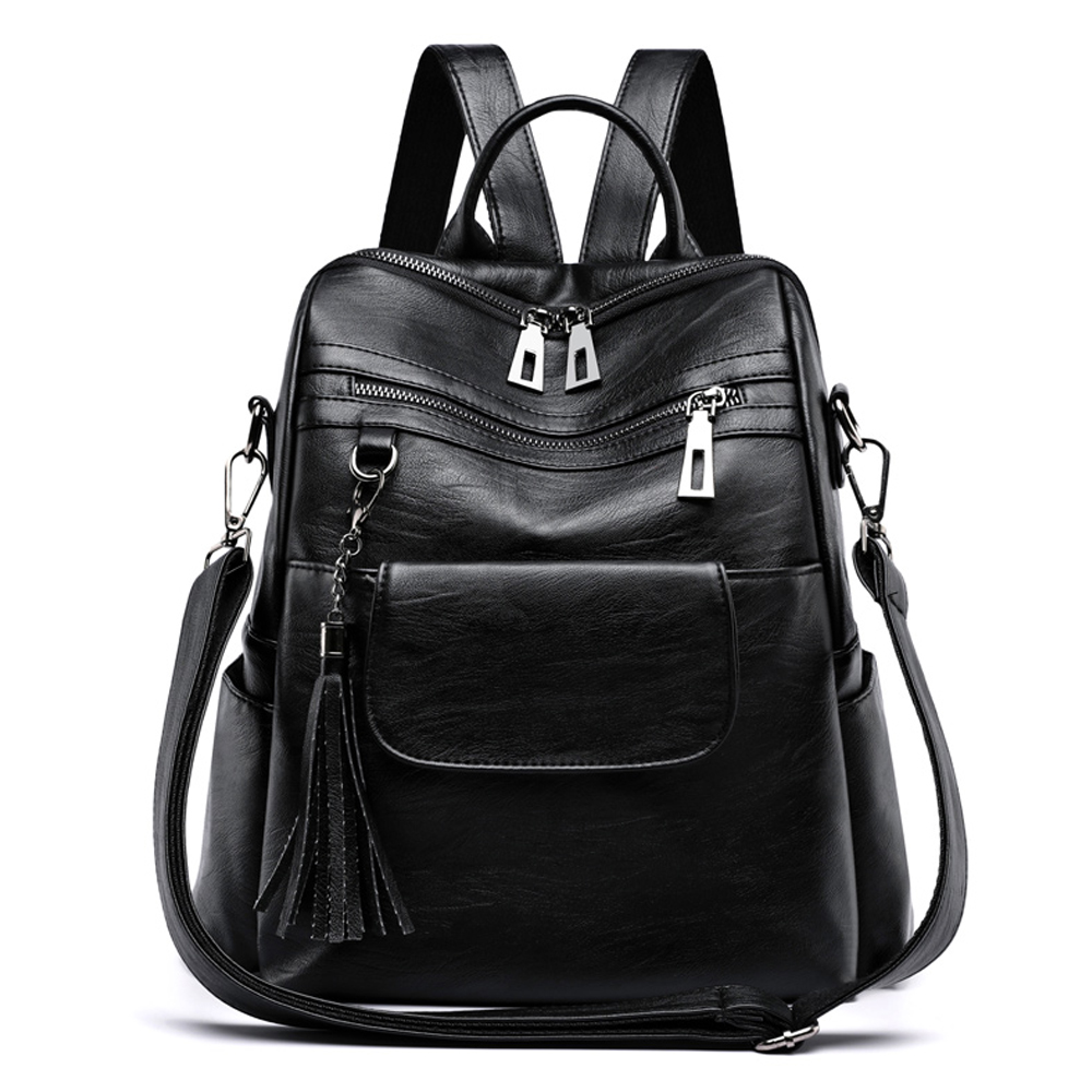 New Women Backpack Genuine Leather Fashion Casual Tassel Bags High Quality Sheepskin Female Shoulder Bag Backpacks For Girls
