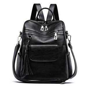 New Women Backpack Genuine Lea