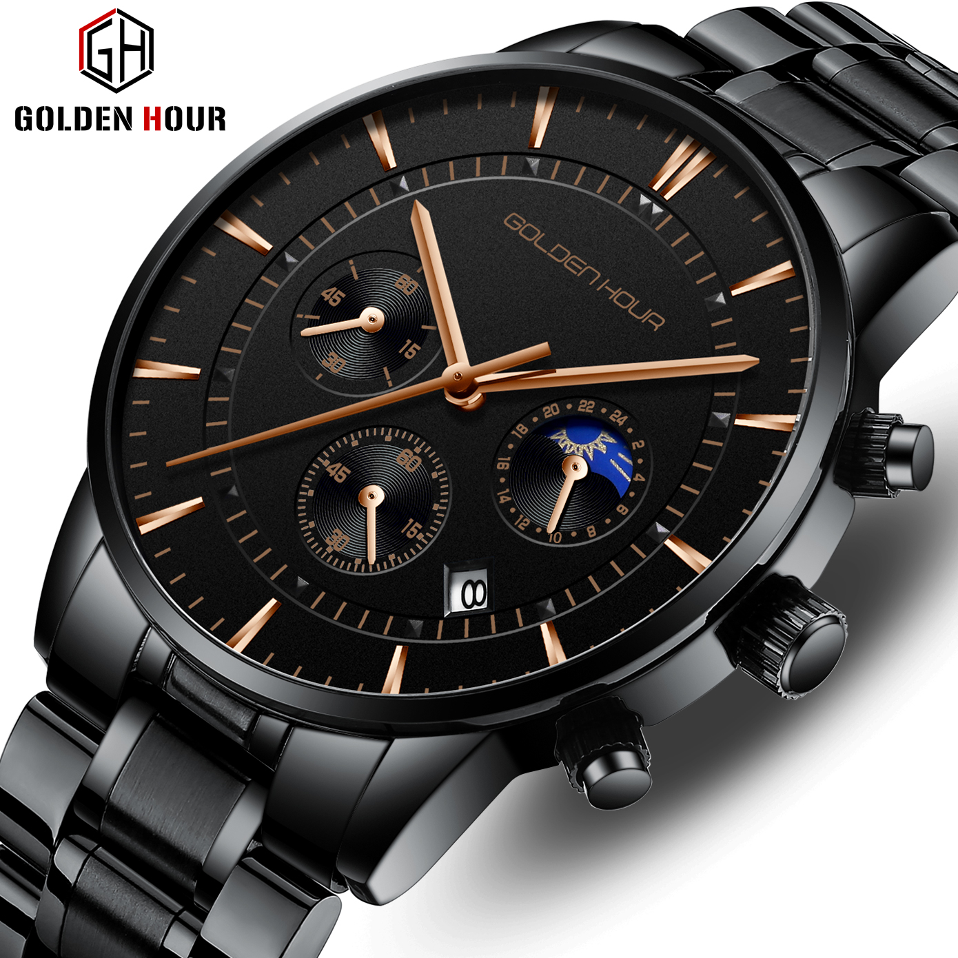 GOLDENHOUR Luxury Brand Men's Watches  Full Steel Business Wristwatch Waterproof Quartz Men Watch Male Clock Relogio Masculino
