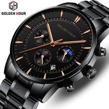 GOLDENHOUR lüks marka erkek saatler tam çelik İş kol su geçirmez kuvars erkek saati erkek saat Relogio Masculino