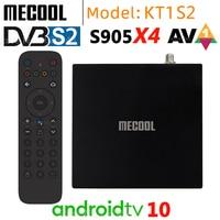 Mecool KT1 DVB-S2 Amlogic S905X4 AV1 Smart TV Box 2GB 16GB Android 10,0 ATV 2,4G 5G wiFi Bluetooth 4K HD Dolby Set top Box