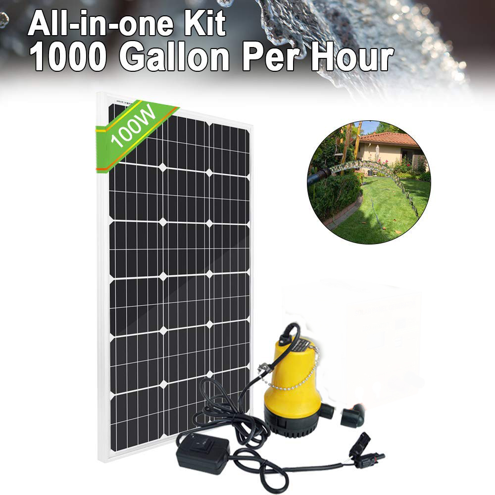 Solar Water Pump Kit: 100 Watts Mono Solar Panel & 12V Water Pump For Pond, Fountain, Water Feature, Hydroponics, Aquarium