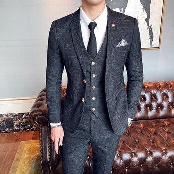 ( Jacket + Vest + Pants ) Boutique Fashion Mens Plaid Casual Business Suit High-end Social Formal Suit 3 Pcs Set Groom Wedding 7