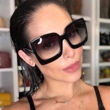 QPeClou Ladies 2019 New Oversized Square Sunglasses Women Men Brand T Sun Glasse