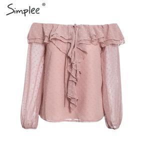 Image 5 - Simplee seksi kapalı omuz fırfır kadın bluz zarif pembe bayanlar chic bahar yaz tatil üstleri rahat uzun kollu dot bluzlar
