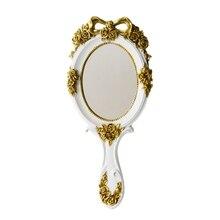 Lindo creativo Vintage mano Espejos de maquillaje espejo de vanidad espejo cosmético de mano con mango para regalos