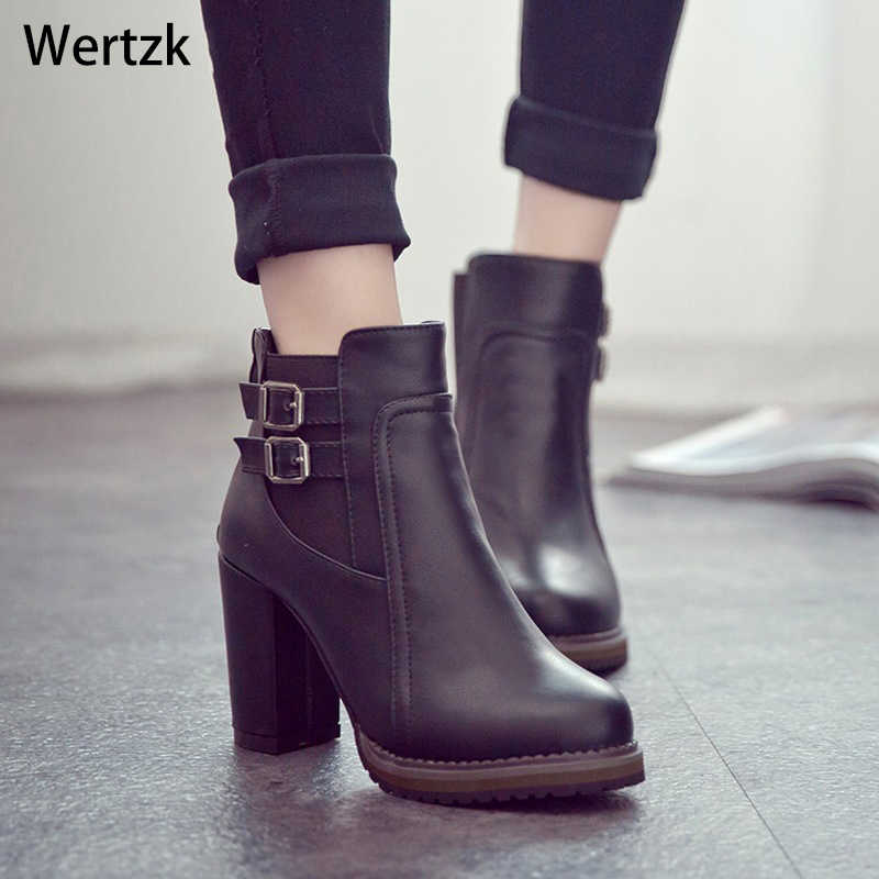 Square Heel Ankle Boots Zapatos De Mujer Botas Size 35-43 2018 New Autumn and Winter Boots Button High Heels Shoe Fashion L237