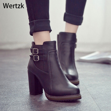 Square Heel Ankle Boots Zapatos De Mujer Botas Size 35-43 2018 New Autumn and Wi