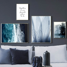 Blue Sand Beach And Mountain Canvas Art Painting Home Decoration Living Room Bedroom Background Wall Hanging Picture Frameless недорого