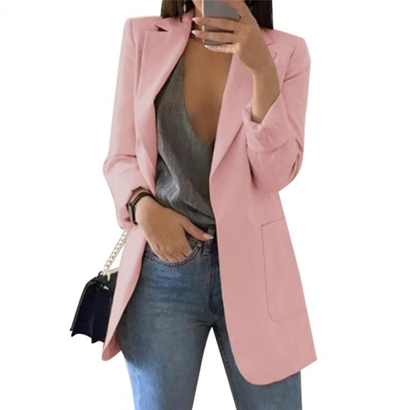 Suit Women Blazers And Jackets Elegant Solid Gray Black Blazer Female Coats Autumn Vintage Long Sleeve Ladies Suits Clothes