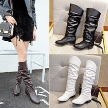 Boots spring and autumn new Martin boots European and American high boots black long white boots