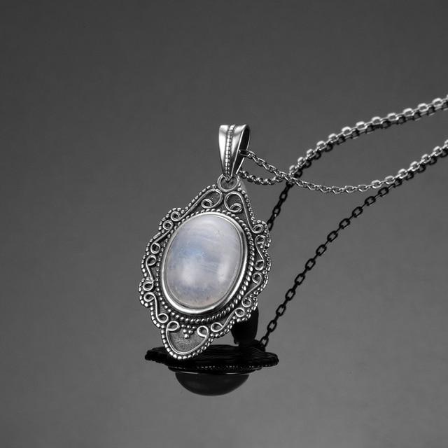 Collar con colgante de piedra lunar Natural cl sica NASIYA joyer a de plata de ley
