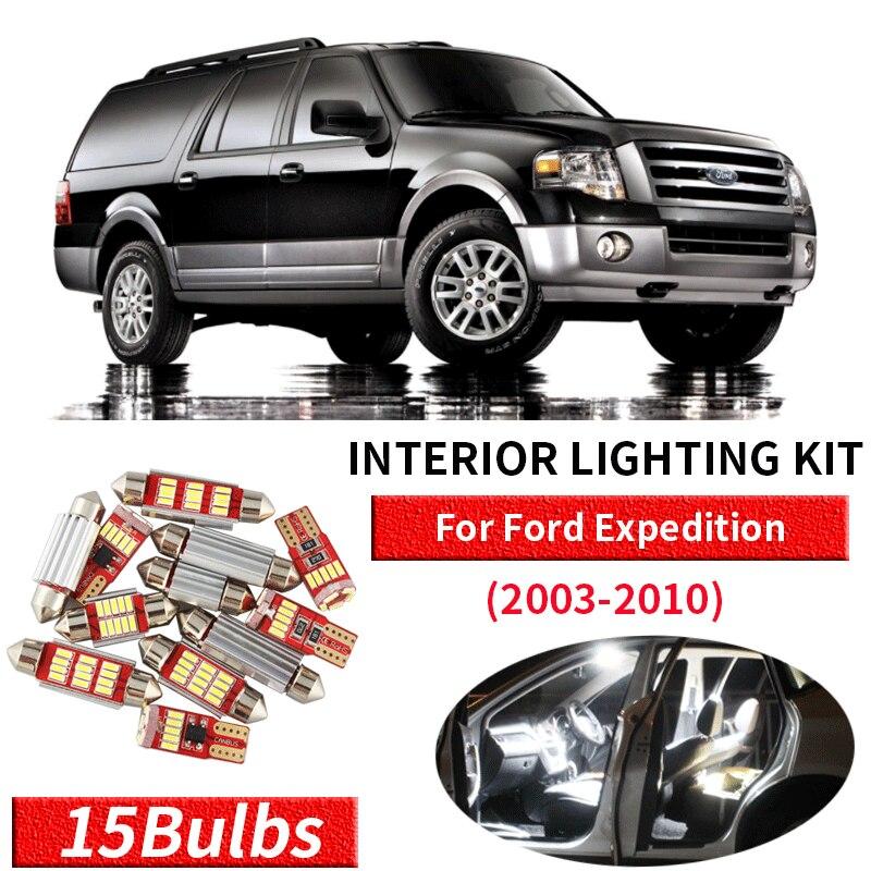 15X الأبيض Canbus led سيارة مصابيح داخلية مجموعة حزمة ل 2003 2004 2005 2006 2007 2008 2009 2010 فورد إكسبيديشن led الداخلية لي