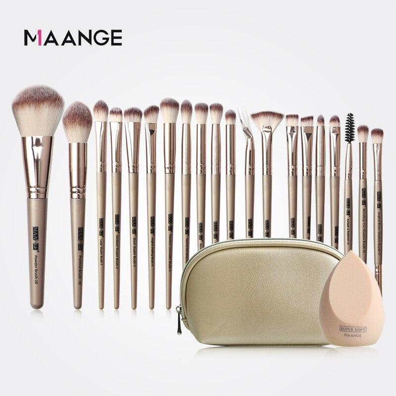 Juego de brochas de maquillaje MAANGE Pro 12/18/20 Uds + bolsa + esponja maquillaje en polvo base sombra de ojos brocha de maquillaje con pelo Natural|rizador de pestañas|   - AliExpress