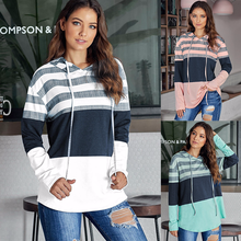 women hoodies Color Hooded Tops Women Autumn Striped Hoodie Sweatshirt Long Sleeve Contrast Color Pullover Hood Shirts Tops contrast checked sleeve hoodie sweatshirt