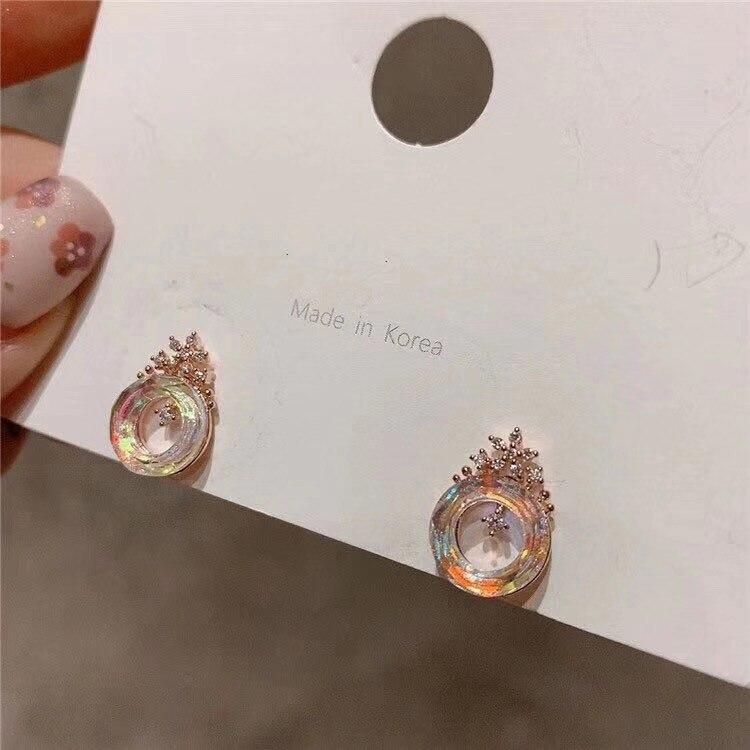 Korean Crown Fresh Crystal Rose Gold  christmas earrings gothic small charm cute star for women
