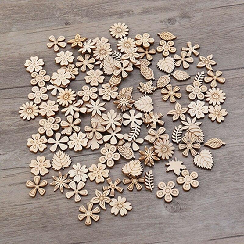 50/100 шт деревянные пуговицы Новое поступление цветок лист Форма разные деревянные пуговицы поделки из дерева на окружающую среду