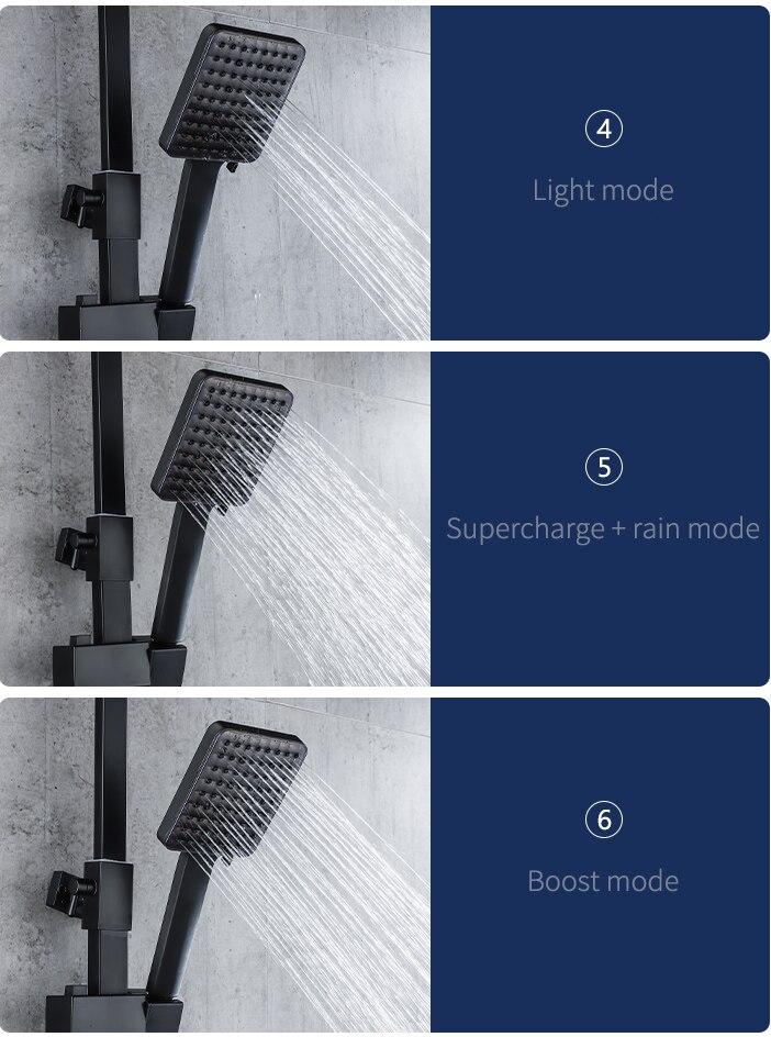 H6497efc8ada24943be0d5098448cbd9eH Piano Digital Bathroom Shower Set SDSN 12 Inch Rainfall Shower Head Solid Brass Bathroom Faucets Matte Black Thermostatic Shower