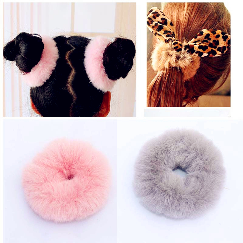 accessories Faux fur pompoms Elastic Hairband Velvet Headwear Baby Headband