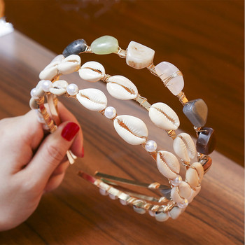 Bohemian Style Shell Headbands Hairbands for Women Hair Jewelry Bride Wedding Natural Stone Hair Hoop Party Accessories handmade fashion jewelry claws natural stone hair jewelry metal hair clip for women girls vintage chinese style accessories hai