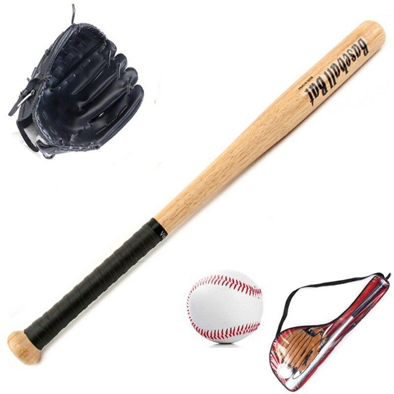 KidsOutdoor Professional 25 Inch Wood Baseball Bat & Softball Ball & Baseball Gloves Exercise Training Baseball Set With Bag,Bl