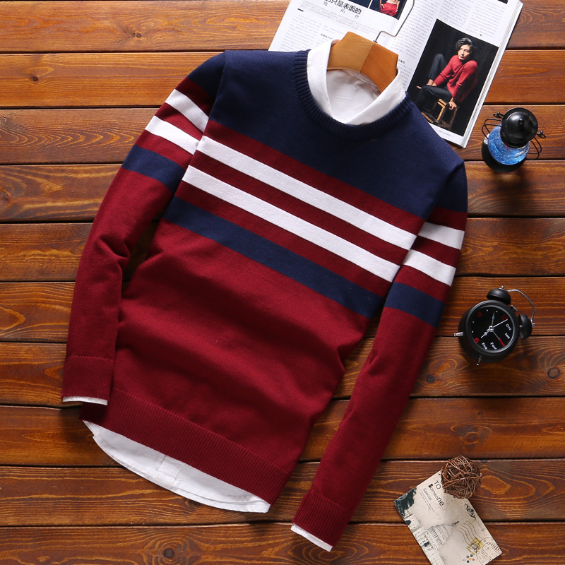 New Knitted Man Sweater Stripe Fashion Men Casual Cotton Autumn Mens Sweaters Fake Shirt Collar Keep Warm Winter Pull Homme
