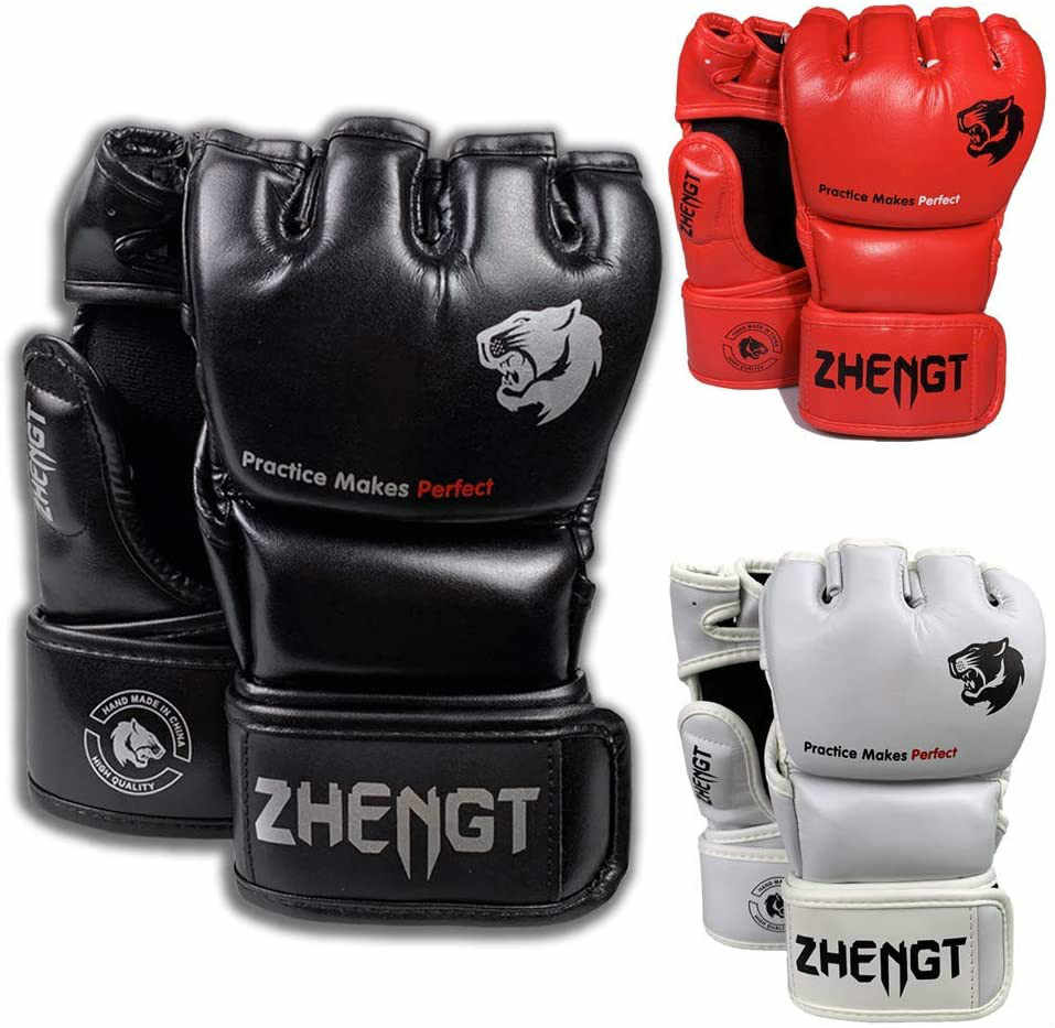 Boxing HALF FINGERS Adults MMA Fight Thai Protector Punching Boxing Gloves.