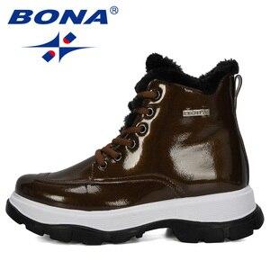 Image 4 - BONA 2019 yeni tasarımcılar popüler İngiliz deri kalın yarım çizmeler bayan botları motosiklet botları bayanlar kış peluş çizmeler