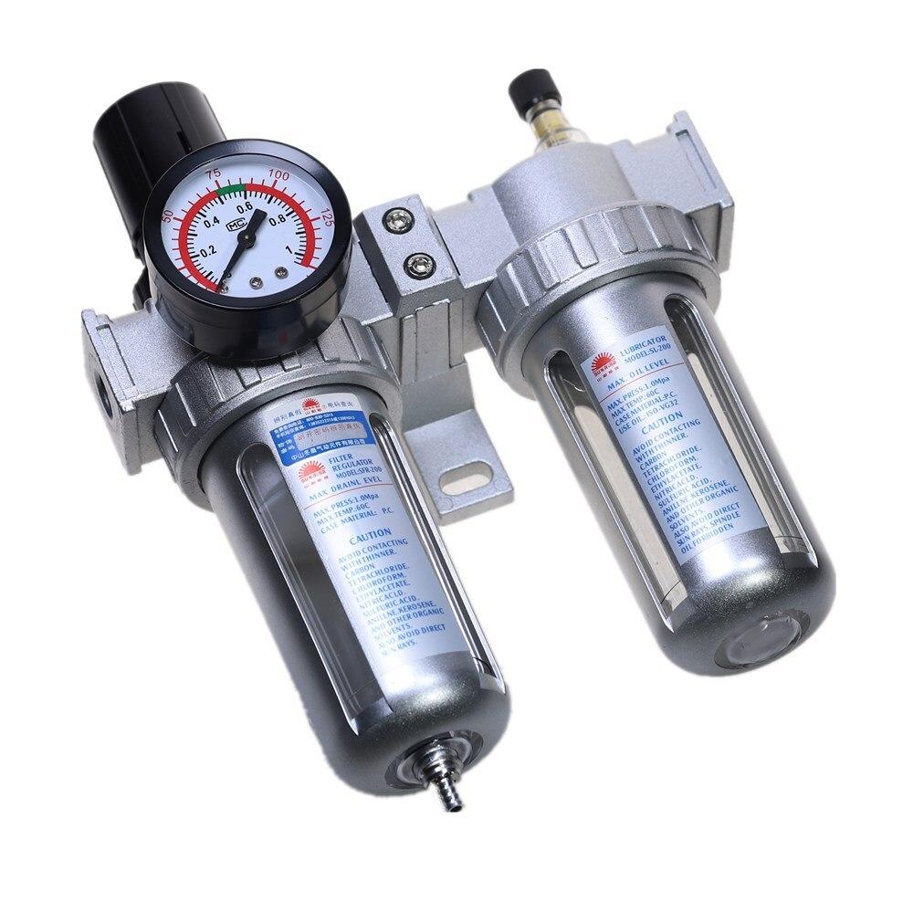 Compressor de ar Umidade Separador De Água Filtro Regulador Lubrificador de Óleo Com Montagem SFC-200 1/4 ''1/2'' 3/8 ''0-1Mpa 0-150 PSI