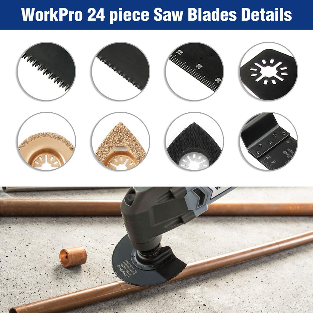 WORKPRO 24-Piece Oscillating Accessory Kit Mixed Multitool Saw Blades for