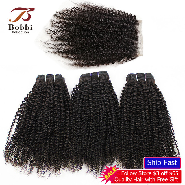 BOBBI COLLECTION Afro Kinky Curly 2/3 Bundles With 4*4 Lace Closure Indian Remy Human Hair Weave Bundles Extensions
