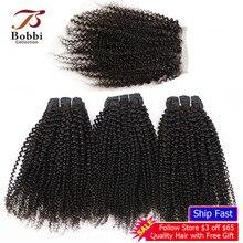 BOBBI SAMMLUNG Afro Verworrene Lockige 2/3 Bundles Mit 4*4 Spitze Schließung Indische Remy Menschliches Haar Weben Bundles Extensions