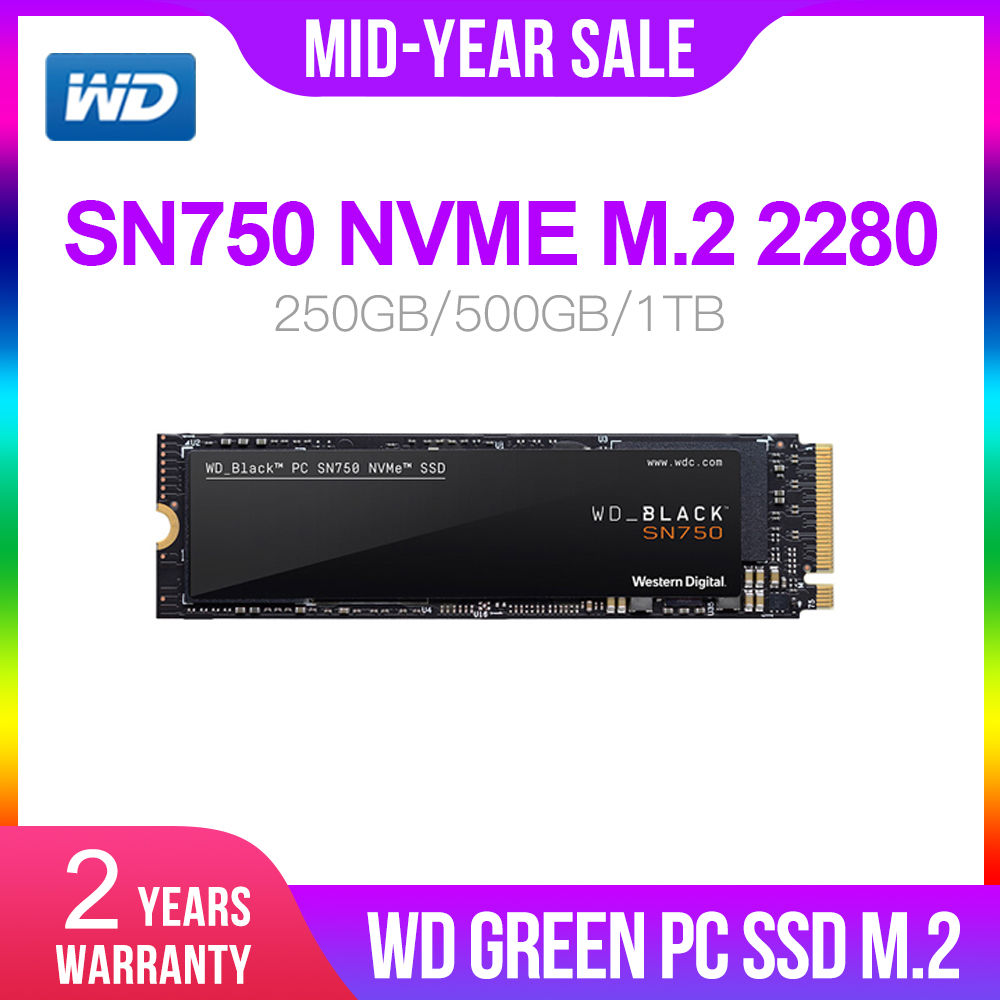 Western Digital WD M.2 2280 BLACK SSD SN750 250GB 500GB 1TB NVMe Internal Gaming SSD-Gen3 PCIe, 3D NAND for Gaming PC Laptop(China)