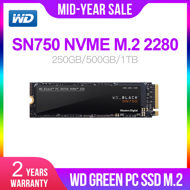 Western Digital WD M.2 2280 สีดำ SSD SN750 250GB 500GB 1TB NVMe ภายใน Gaming SSD Gen3 PCIe, 3D NAND สำหรับเกม PC แล็ปท็อป