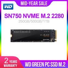 Western Digital WD M.2 2280 ZWARTE SSD SN750 250GB 500GB 1TB NVMe Interne Gaming SSD Gen3 PCIe, 3D NAND voor Gaming PC Laptop