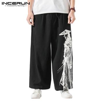 2020 męskie spodnie w stylu Vintage z szerokimi nogawkami Retro nadruk biegaczy dorywczo spodnie z elastycznym pasem luźna bawełniana Streetwear Pantalones INCERUN tanie i dobre opinie Szerokie spodnie nogi CN (pochodzenie) Mieszkanie COTTON NONE Luźne Men Loose Printed Pants Na co dzień Midweight Suknem