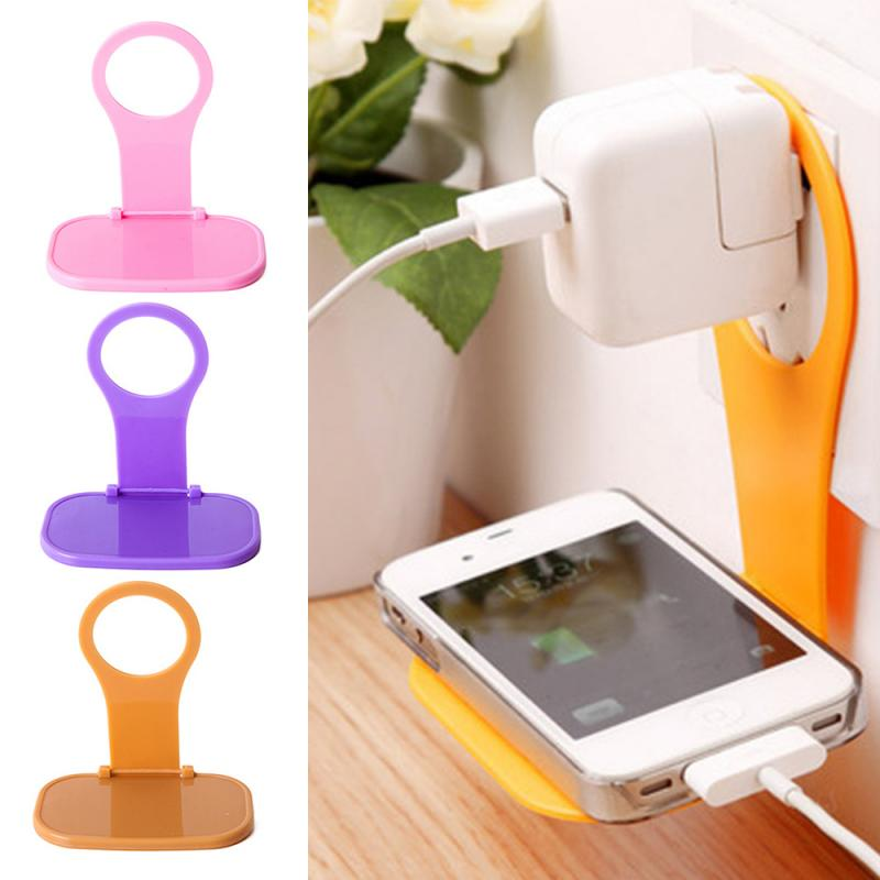 Wall Hanger Mobile Phone Charger Holder Stand Mount Adapter Cable Tidy Folding Universal Portable Random Color